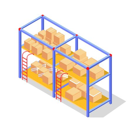 Goods, products in cardboard boxes or wooden crates storing on racks of warehouse. Depot, manufacturing, production, packing, storage concept. Vector isometric illustration isolated on white.