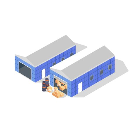 Two blue buildings with grey roofs of warehouse with black drums, cardboard boxes or wooden crates. Storage, depot for goods, products. Vector isometric illustration isolated on white background. Иллюстрация