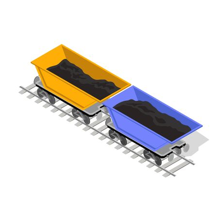Two mine carts, rail-truck yellow and blue are on railway. Open top mine trolley with black materials ore or coal are ready to transportation to point of destination. Isometric vector on white.