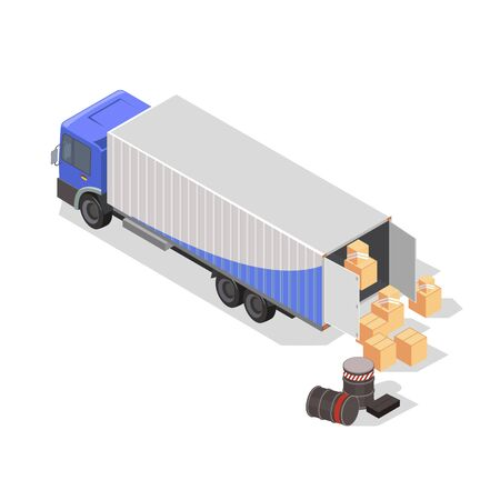 Drums, barrels, cardboard boxes or wooden crates are next to lorry for loading and transportation. Refrigerator truck for delivery fresh and frozen cargo. Isometric vector illustration on white.