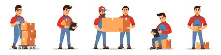 Consecutive of delivery service actions. Worker in uniform transporting goods on cart, man counting price, mover or loader carrying cardboard boxes. Cartoon vector set isolated on white background..