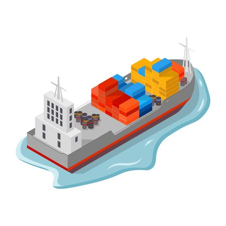 Cargo ship, freighter with containers, boxes and drums, barrels. Sea delivery and freight insurance services, international shipping, export and import of goods concept.