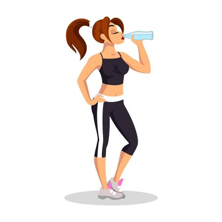 Brunette girl in sport top, short leggins and running shoes standing and drinking water. Young sportswoman having rest. Daily workout, healthy, active lifestyle. Ilustrace