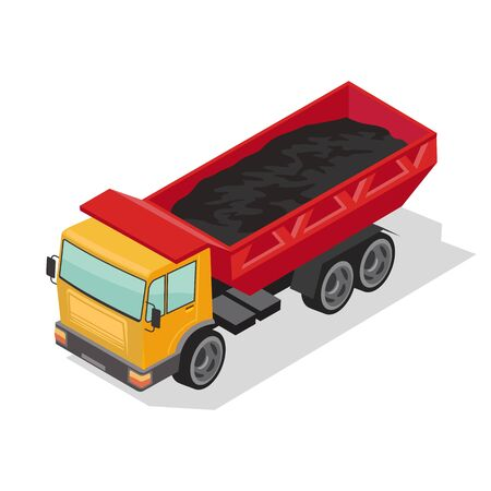 Dump truck with yellow cabin and red body delivering black material. Heavy dumper, lorry transporting coal, ground, asphalt. Vector isometric illustration isolated on white background.