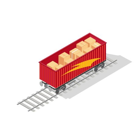 Red open top container of train with cardboard boxes or wooden crates is on rail-track. Freight preparing to transportation to point of destination. Vector isometric illustration isolated on white. Иллюстрация