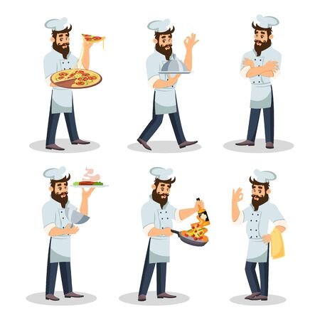 Big set with bearded chef in cap and apron who cooking meal, carrying dishes to guests, offering to try delicious food, smiling and showing OK sing. Cartoon vector illustration isolated on white. Foto de archivo - 129699568