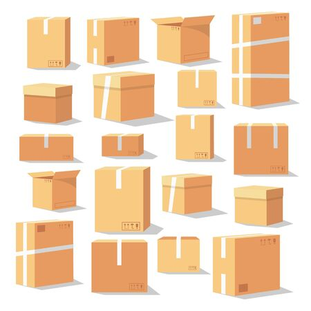 Set of isometric cardboard boxes. Delivery box package. Different cardboard boxes isolated on white. Close and open, different size. Vector illustration isolated on white background.
