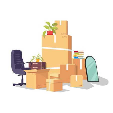 Moving by reason changing work, job, promotion, career development, dismissal. Relocation from one office to another. Working supplies and equipment in delivery packaging. Vector cartoon on white. Ilustração