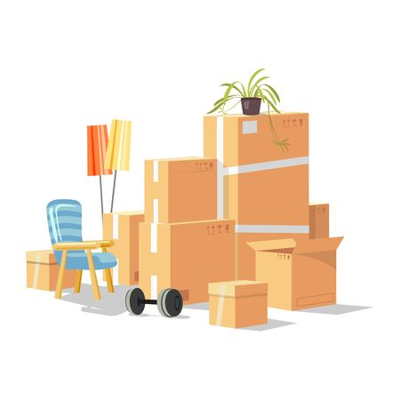 Moving to new house, room, apartment with home furniture, things in cardboard boxes, plant, barbell, armchair, floor lamps. Transport or removal company services. Cartoon vector illustration on white. Ilustração
