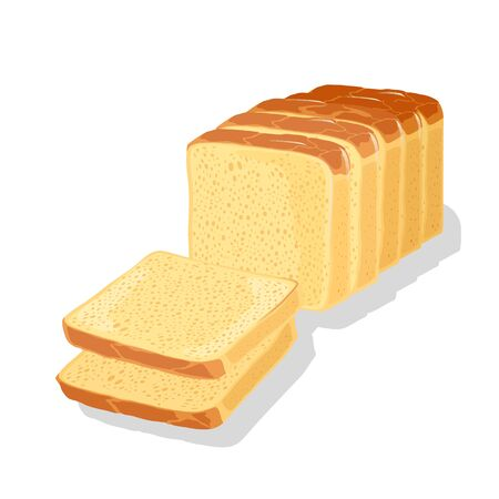 Wheaten white bread cutted to slices, pieces for eaten, toasts, sandwiches, sarnies. Carbohydrate source. Pastry, baked cereal rustic crusty food. Cartoon vector illustration isolated on white.