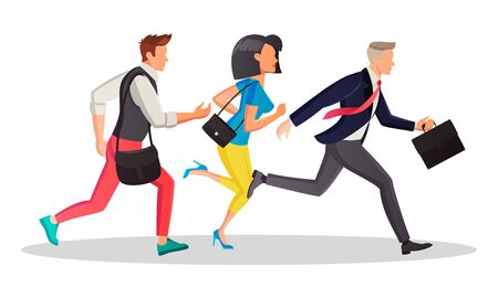 Students and business people running in the same direction to work, meeting in morning. People are late and hurry up. Motivation, competition, deadline, sale concept. Vector cartoon isolated on white.