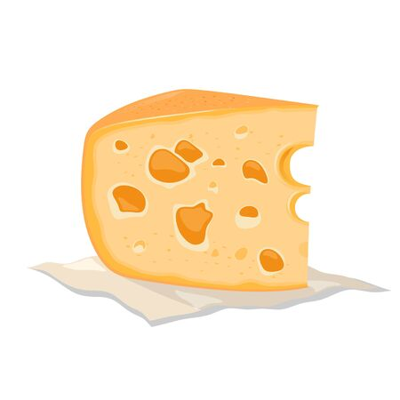 Piece of tasty yellow holed cheese made from cow, goat or sheep milk. Maasdam, emmental, swiss on napkin. Natural healthy product. Vector cartoon, realistic icon isolated on white background. Stock Illustratie
