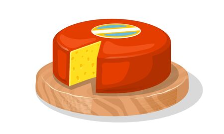 Wheel of delicious yellow holed cheese covered red wax is on round wood cutting board. Source of protein. Best for breakfast sandwiches, snack. Vector cartoon realistic isolated on white background.