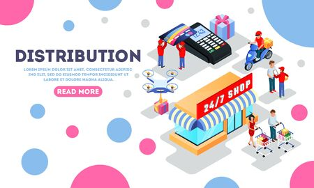 Distribution, dispatch, delivery, making purchases landing page template with 24 7 shop, customers, clients, courier, motor scooter driver, flying quadrocopter, POS machine, bank card Isometric vector