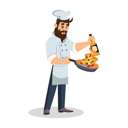 Handsome bearded chef holding frying pan with vegetables in flame in one hand and bottle in other hand. Brunet cook in uniform preparing meal. Restaurant staff. Vector cartoon illustration isolated. Иллюстрация