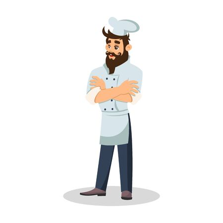 Bearded chef in cook cap. Cheerful waiter. Food server in uniform. Vector cartoon illustration isolated on white background.
