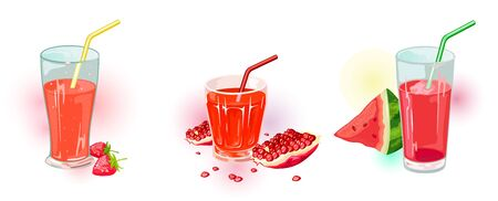 Red beverages in cups inspiring to demonstration of activity, possibility, power, friendship. Vector set with drinking glass vessels of strawberry, pomegranate, watermelon juices. Cartoon collection.