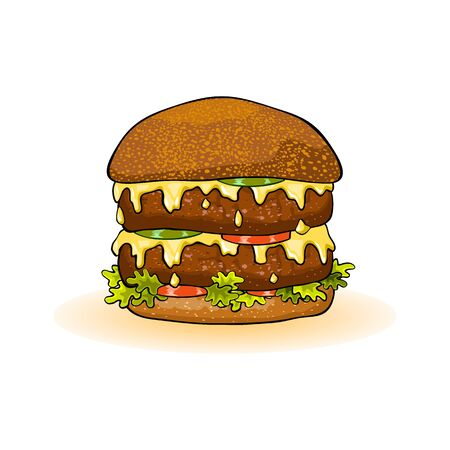 Big double burger with slices of beef patties, melted cheese, juicy red tomatoes, cucumber, lettuce, sauce, onions, mustard. All served in toasted bun. Fast food. Vector cartoon icon isolated on white