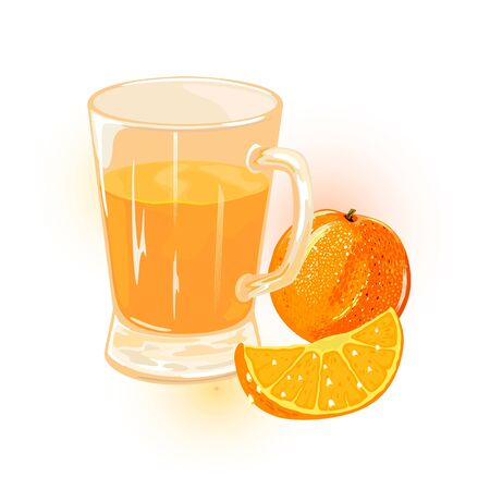 Oranges, mandarines or tangerines, whole and segment are near glass of juice. Citrus fruits and sweet beverage in transparent mug. Cartoon vector illustration isolated on white background.