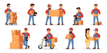 Vector set illustrating highlights of delivery services: counting price, checking order, transportation parcels with movers, loaders, motor scooter, cart, courier to client. Cartoon isolated on white. Ilustração