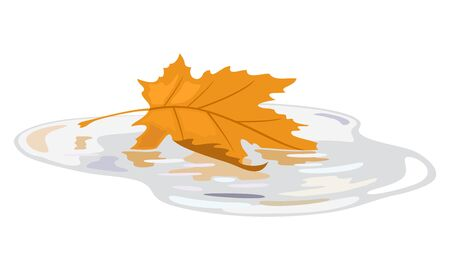 Yellow leaf of maple floating in water puddle. Fall season, wet weather, senescent nature. Seasonal sale element design. Bye summer, hello autumn. Vector cartoon illustration isolated on white.