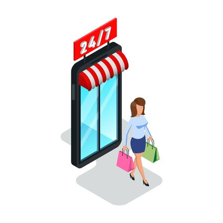 Pretty woman leaving shop, store, mall with paper bags. Girl exiting mall, supermarket with purchases. Online shopping, seasonal sale, 24 hour, round the clock work concept. Isometric on white. Illustration