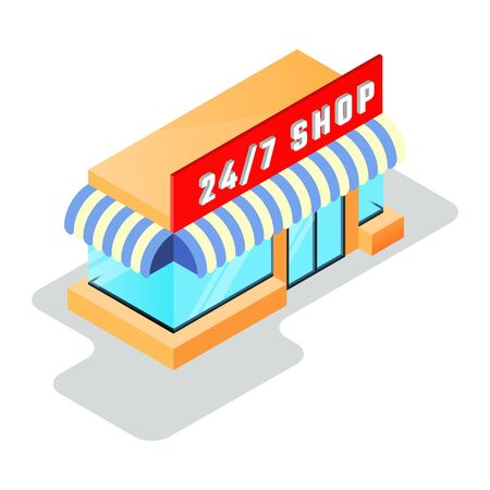 Small shop, minimarket with store sign 24 7 open. Round the clock, day and night, twenty fout hour work, online shopping, e-commerce concept. Isometric vector icon isolated on white background. Vectores