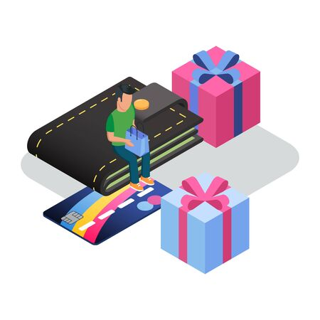 Man sitting on wallet among boxes with ribbons, entering PIN code, paying for goods, products, services. Card payment, online bank, shopping, e-commerce. Isometric vector illustration on white.