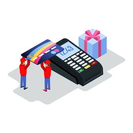 Two workers in uniform keeping bank or credit card on POS machine for cashless transfers for purchases. Card payment, online shopping, banking, e-commerce concept. Isometric vector illustration.