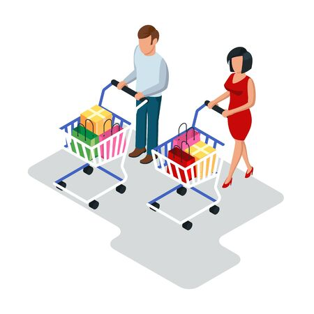Man and woman going with basket trolleys, carts in shop, store, supermarket. Family making purchases. Online shopping, sale, discount concept. Isometric vector illustration isolated on white. Illustration