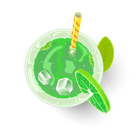 Green beverage in glass with ice cubes, straw and lime. Alcoholic cocktail or mocktail for St. Patrick s or Earth day party. Sparkling Shamrock, Irish Eyes, Emerald Isle drink. Top view. Vector. Ilustrace