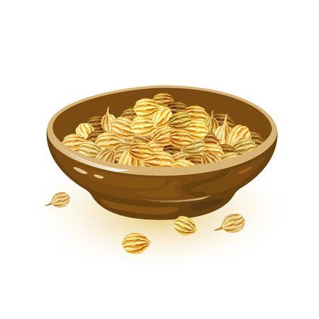 Koriandersamen sind in einer braunen Keramikschale. Gewürz mit warmem, nussigem, würzigem Geschmack und Verwendung beim Kochen. Cartoon-Vektor-Illustration isoliert auf weiss für Verpackung, Kochbuch, Rezepte, Marktetiketten.