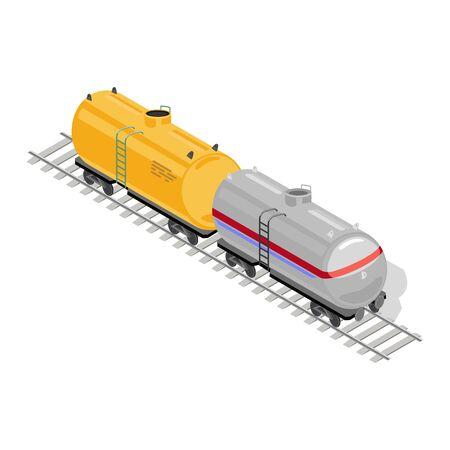 Dos vagones de mercancías o mercancías, amarillo y gris, se encuentran en las vías del tren. Vehículos ferroviarios, vagones para transporte, tránsito de carga, consignación. Ilustración isométrica de vector aislado sobre fondo blanco.