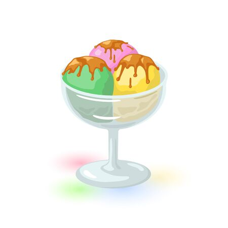Yellow, green and pink scoops of ice cream covered chocolate or caramel glaze. Strawberry, pistachio and banana sundae, gelato served in cocktail glass. Cartoon icon isolated on white background.