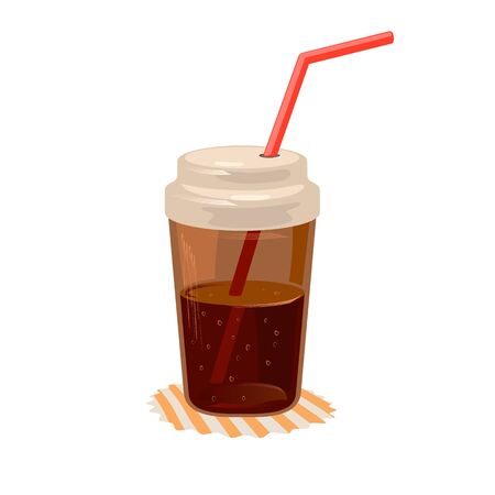 Cola or coke beverage in closed cup with straw on napkin. Sweet carbonated soft brown drink. Cool lemonade for summertime. Fast food. Cartoon vector illustration isolated on white background. Ilustração