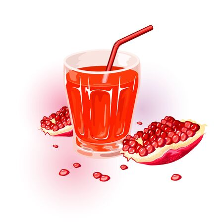 Fresh ripe red pomegranate. Fruit of punica granatum split open to reveal clusters of juicy, gem-like seeds on the inside, and glass of juice with straw. Vector cartoon illustration isolated on white. Иллюстрация