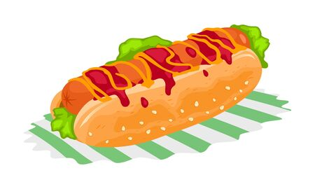 Cooked hot dog is on napkin. Grilled or steamed sandwich with sausage served in the slit of partially sliced bun, mustard, ketchup and coleslaw. Vector cartoon illustration isolated on white.