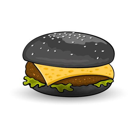 Halloween burger. Black cheeseburger with beef patty, cheese, lettuce, sauce, mustard. All nested on freshly toasted bun with sesame seeds on top. Fast food. Vector cartoon icon isolated on white.