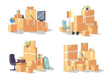 Ensemble de vecteur de groupe de meubles, boîtes en carton. Conception pour entreprise de transport ou de déménagement offrant des services de réinstallation, déménagement dans une autre ville, état, pays. Collection de dessins animés isolée sur blanc.