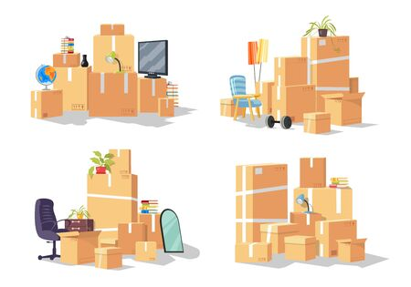 Vector set of group of furniture, cardboard boxes. Design for transport or removal company offering services of relocation, moving to other city, state, country. Cartoon collection isolated on white. Ilustração