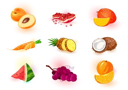Vector set with fruits, berries, vegetable. Healthy and tasty ingredient for juices, cocktails, smoothies, nectars, saps, syrups. Summer vegetarian snack, diet products. Cartoon collection on white.