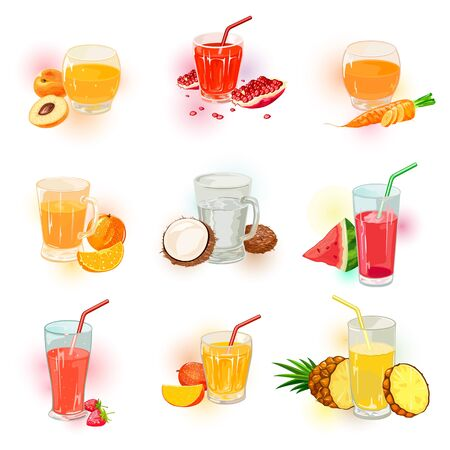 Vector set with berry, vegetable and fruit juice assortment. Cold drinks menu. Relaxing and joyful holiday, weekend with delicious beverages. Cartoon collection isolated on white background.