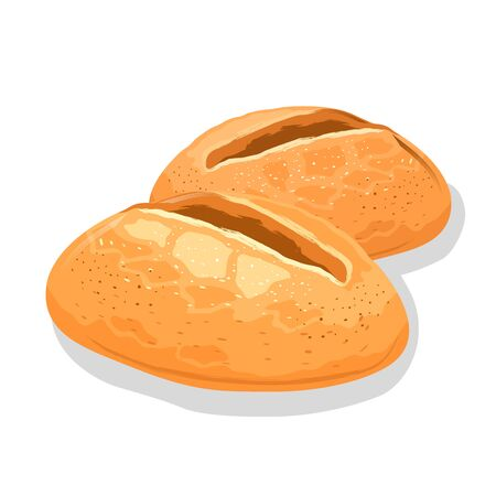 Small wheaten white bread rolls. Fresh crusty buns. Baking, pastry, cereal products. Can be used for eaten, toasts, sandwiches, sarnies, homemade burgers. Vector cartoon icon isolated on white.
