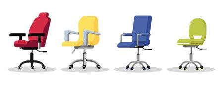 Set office chairs with casters. Modern desk height adjustable armchair. Side view. Furniture item for workplace at company or at home. Vector flat icon isolated on white background. Ilustracja