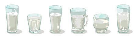 Vector set of different sized, shapes and heights glassware in line. Transparent cups, glasses, mugs with liquid. Drinkware assortment with water, beverage. Cartoon collection isolated on white.