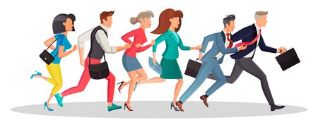 Men and women running in the same direction to work, meeting in morning. Business people are late and hurry up. Motivation, competition, deadline, sale concept. Vector cartoon isolated on white.
