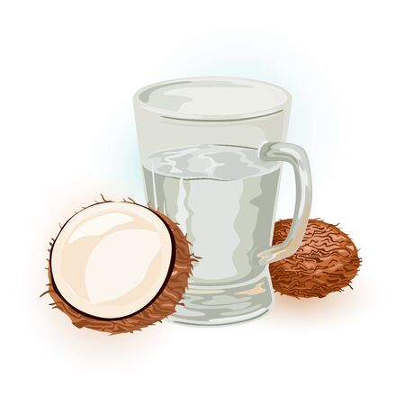 Coconut sap, water, wine or tuba in glass. Seeds or fruits of palm tree are near juice in transparent mug. Tropic summer beverage, drink. Cartoon vector illustration isolated on white background.