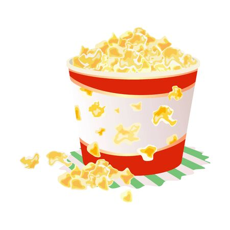 Sweet or salty popcorn in big paper cup on napkin. Maize corns which expanded and puffed up when heated. Delicious snack. Fast food. Cartoon vector illustration isolated on white background. Ilustração