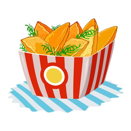 Delicious fried potato wedges garnished with greenery in big paper cup. Hot baked pies in disposable packing on napkin. Fast food. Cartoon vector illustration isolated on white background.