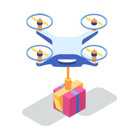 Modern technology, mobile delivery service by air. Drone flying with cardboard box. Quadrocopter carrying parcel, goods to point of destination. Online shopping, ordering, transportation concept.